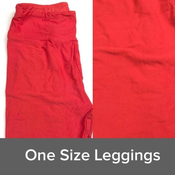 Lularoe Pants Nwt One Size Os Leggings Solid Tomato Red Poshmark